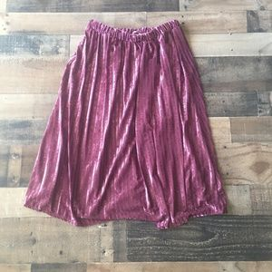 Jessy B Dark Mauve Pink Ribbed Velvet Midi Skirt M